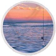 Fishing The Sunset Surf - Horizontal Version Round Beach Towel