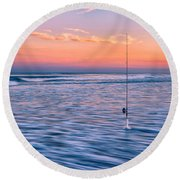 Fishing The Sunset Surf - Vertical Version Round Beach Towel