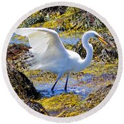 Fishing The Tide Round Beach Towel