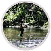 Fishing The Wissahickon Round Beach Towel
