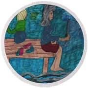 Fishing Under The Evening Sky On A Cool Autumn Night Round Beach Towel