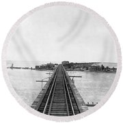 Fishing Village In Key West Round Beach Towel
