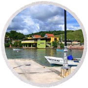 Fishing Village Puerto Rico Round Beach Towel