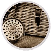 Fishing - Vintage Fly Fishing - Black And White Round Beach Towel