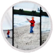 Fishing With Dad - Catch And Release Round Beach Towel