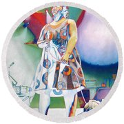 John Fishman And Vacuum Round Beach Towel
