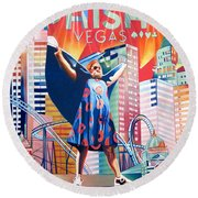 Fishman In Vegas Round Beach Towel by Joshua Morton