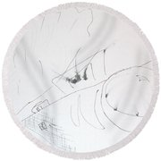 Fist And Cam Round Beach Towel