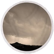 Fist Bump Of Power Sepia Round Beach Towel by James BO  Insogna