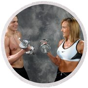 Fitness Couple 9 Round Beach Towel