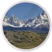Fitz Roy Range In Springtime 2 Round Beach Towel