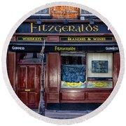 Fitzgeralds Pub - Dublin Ireland Round Beach Towel