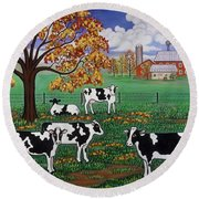 Five Black And White Cows Round Beach Towel