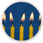 Five Candles Burning Round Beach Towel