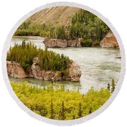 Five Finger Rapids Of Yukon River Yukon T Canada Round Beach Towel
