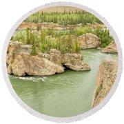 Five Finger Rapids Rocks Yukon River Yt Canada Round Beach Towel