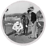 Five Golfers Looking At A Ball Round Beach Towel