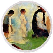 Five Male Figures Possible Preparatory Sketch For The ''bathers At Asnieres.'' Round Beach Towel