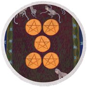 Five Of Pentacles Round Beach Towel