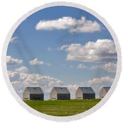 Five Sheds On The Alberta Prairie Round Beach Towel