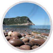 five steps to paradise - Giant pebbles is Menorca north shore close to Cala Pilar beach Round Beach Towel
