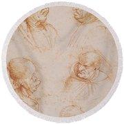 Five Studies Of Grotesque Faces Round Beach Towel by Leonardo da Vinci