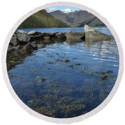 Fjord To The Sky Round Beach Towel