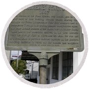 Fl-1020 Site Of First Ybor City Railroad Station 1887 Round Beach Towel