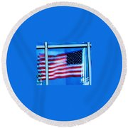 Flag Abstract Reflection Round Beach Towel