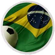 Flag And Ball Round Beach Towel
