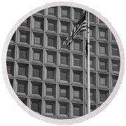 Flag And Windows In Black And White Round Beach Towel