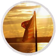 Flag At Sunset Round Beach Towel