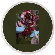 Flag Bike Round Beach Towel