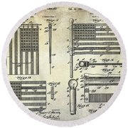 1927 Flag Spreader Patent Drawing Round Beach Towel