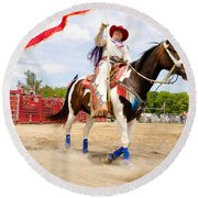 Flag Lady Round Beach Towel