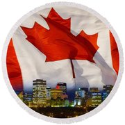 Flag Of Canada Over Albertas Capital Round Beach Towel