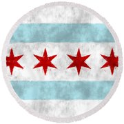 Flag Of Chicago Round Beach Towel
