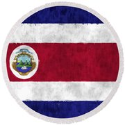 Flag Of Costa Rica Round Beach Towel