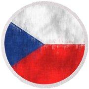 Flag Of Czech Republic Round Beach Towel