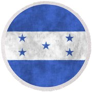 Flag Of Honduras Round Beach Towel