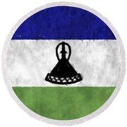 Flag Of Lesotho Round Beach Towel
