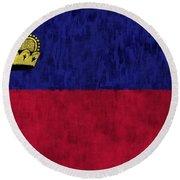Flag Of Liechtenstein Round Beach Towel
