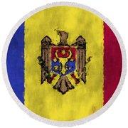 Flag Of Moldavia Round Beach Towel