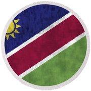 Flag Of Namibia Round Beach Towel