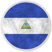 Flag Of Nicaragua Round Beach Towel