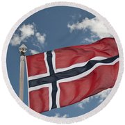 Flag Of Norway Round Beach Towel