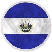 Flag Of Salvador Round Beach Towel