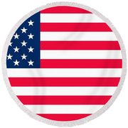 Flag Of The United States Of America Round Beach Towel