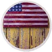 Flag On Old Yellow Door Round Beach Towel