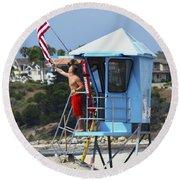 Flag Waving Lifeguard Round Beach Towel